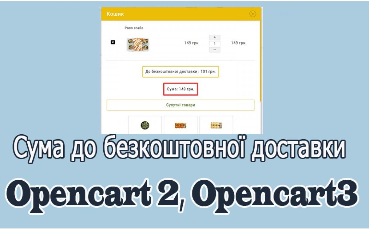 До безкоштовної доставки лишилось Opencart